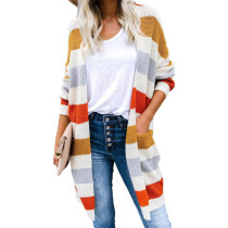 Yellow Color Block Knit Cardigan with Pockets TQK271028-7