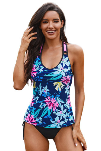 Blue Printed Racerback Tank Swim Top LC412302-5