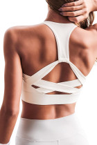 White Athletic Push Up Sports Bra LC262008-1