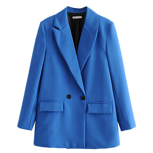 Solid Blue Double Row Button Lady Blazer Suit TQK260037-5