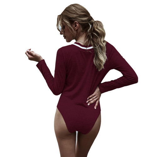 Wine Red Cotton Blend V Neck Bodysuit TQK550198-103
