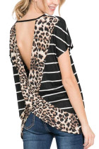 Stripe Black Leopard Printed Open Back Short Sleeve T Shirt LC253415-2
