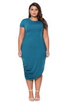 Marine Short Sleeve Asymmetrical Hem Plus Size Dress