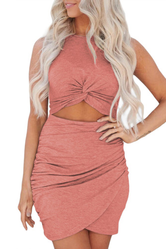 Red Twist Knot Front Cutout Bodycon Dress LC221297-3