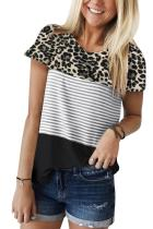 Black Block Striped and Leopard Short Sleeve Tee LC253230-2