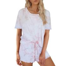 Pink Tie Dye Short Sleeve Pajama Set TQK710040-10