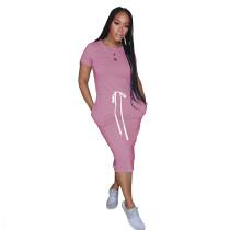 Pink Elastic Waist Short Sleeve Casual Dress TQK310321-10