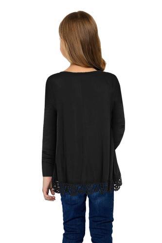 Black Long Sleeve Lace Trim O-neck A-line Tunic Blouse TZ25116-2