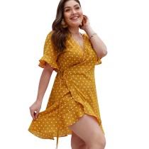 Yellow Polka Dot Front Wrap Plus Size Dress