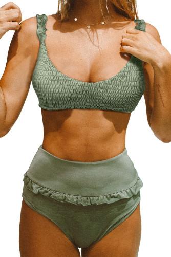Green Smocked High Waist Bikini Set LC412163-9