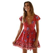 Red V Neck Floral Print Boho Dress TQK310091-3