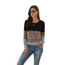 Black Striped Splice Leopard Long Sleeve Tops TQK210425-2