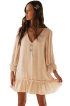 Beige Casual Loose V Neck Short Swing Dress
