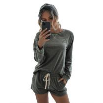 Dark Gray Long Sleeve Shorts Set TQK710054-26