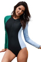 Asymmetric Long Sleeve Color Block Surfing Rashguard