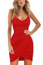 Red Spaghetti Straps Deep V Neck Sleeveless Bodycon Mini Dress