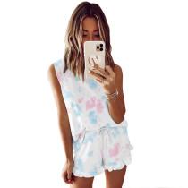Blue Tie Dye Sleeveless Pajamas Set TQK710050-7