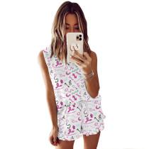 Rosy Symbol Print Sleeveless Pajamas Set TQK710050-9