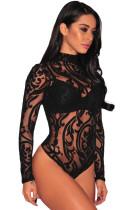 Black Sheer Mesh Print Long Sleeves Bodysuit