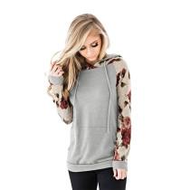 Gray Kangaroo Pocket Floral Sleeve Hoodie TQK00300-11