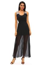 Black Sequins Accents Maxi Dress
