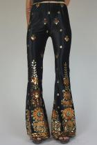 Printed Sequined Flared Pants LC77276-2