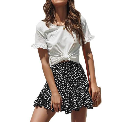 Black White A-line Ruffle Mini Skirt TQK350025-37B
