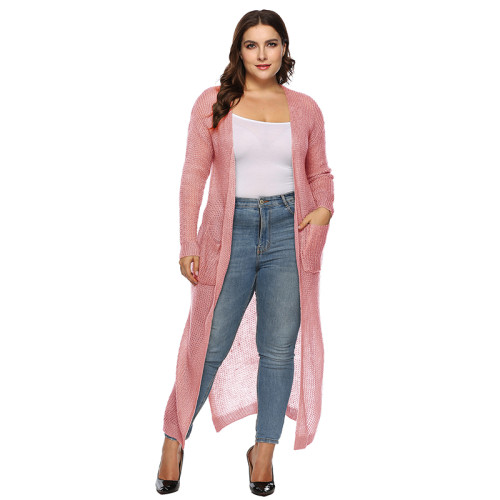 Pink Split Plus Size Cardigan With Pockets TQK270039P-10