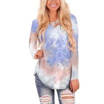 Light Purple Tie Dye Long Sleeve Top TQK210388-38