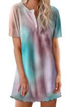 Orange Round Neck Button Tie-Dye Nightgown LC44006-14