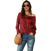 Red Leopard Print Long Sleeve Tops TQS210061-3