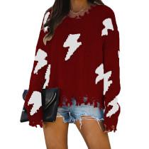 Wine Red Distressed Hole Tassel Pullover Sweater TQK271054-103