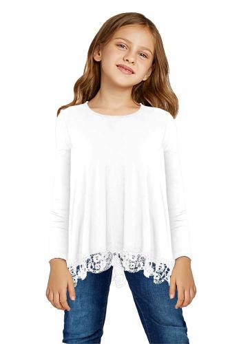 White Long Sleeve Lace Trim O-neck A-line Tunic Blouse TZ25116-1