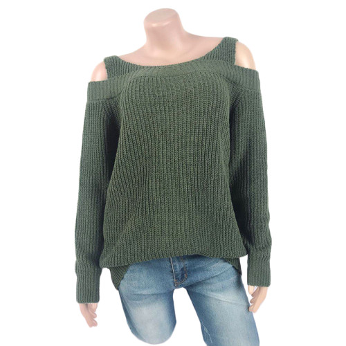 Army Green Cold Shoulder Long Sleeve Knit Sweater TQK271046-27