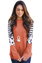 Orange Striped Animal Print Colorblock Long Sleeve Top LC2511095-14