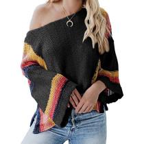 Black Splice Rainbow Ombre Knit Sweater TQK271055-2