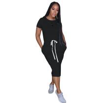 Black Elastic Waist Short Sleeve Casual Dress TQK310321-2