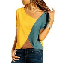 Yellow Color Block Crew Neck Short Sleeve Tees TQS210039-7