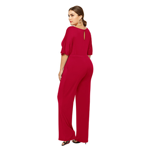 Red Wide Leg Plus Size Jumpsuit TQK550059-3