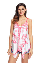 White Ethnic Print Summer Holiday Tank Top