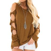 Brown Cold Shoulder Unique Long Sleeve Tops TQS210037-17