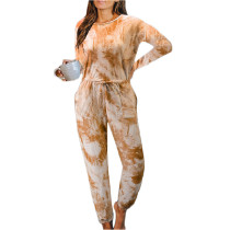 Orange Cotton Blend Long Sleeve Loungewear Jumpsuit TQK550202-14