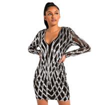 Silver Sequined V Neck Bodycon Dress TQK310224-13