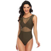 Army Green Mesh Open Back One Piece Swimsuit TQK620058-27