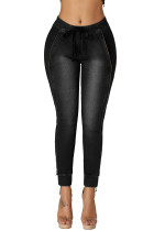 Black Wash Elastic Waistband Denim Pants