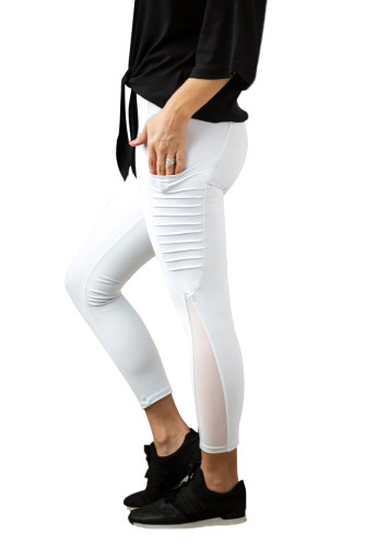 White Moto Pocketed Leggings LC26083-1