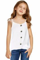White Girls Sleeveless Button Down Cami Tank