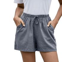 Gray Pocketed Loose Flax Shorts TQK530012-11