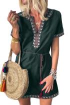 Green Summer Boho Embroidered V Neck Short Sleeve Casual Mini Dress