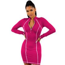 Rosy 1/4 Zipper Bodycon Mini Dress TQK310216-6